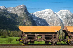 Blockwagen auf Eisenbahn Stockbilder