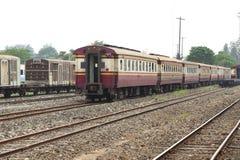 Blockwagen eines alten Zugparkens Stockbild