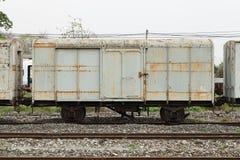 Blockwagen eines alten Zugparkens Lizenzfreie Stockbilder