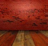 Blockwand und -boden des roten Backsteins Stockbild