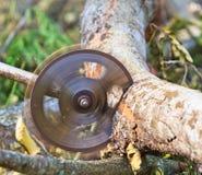 Blockwindenmann schneidet Holz Stockfoto
