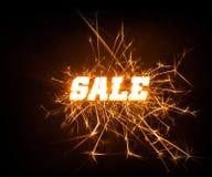 Blocky λέξη πώλησης Sparkly στο σκοτεινό υπόβαθρο στοκ εικόνες με δικαίωμα ελεύθερης χρήσης
