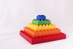 Blocky pyramid. Rainbow blocks pyramid - Concept  -Isolated Royalty Free Stock Photo