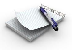Blocnote en pen Stock Afbeelding