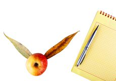 Blocnote en pen met appel Stock Afbeelding