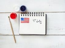 Blocnote met een beeld van de vlag van de V.S. royalty-vrije stock foto's