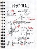 Blocnote met een wiskundig project met rode tekens Royalty-vrije Stock Afbeelding