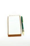 Blocnote met pen Stock Fotografie
