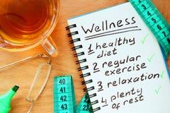 Blocnote met Wellness-concept stock afbeelding