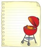 Blocnotepagina met barbecueonderwerp 1 royalty-vrije illustratie