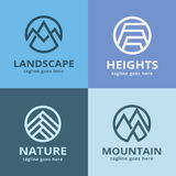 Bloco abstrato Logo Template Design Vetora da montanha da natureza Foto de Stock Royalty Free