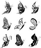 Bloco ajustado stickers2 da tatuagem da borboleta Fotos de Stock Royalty Free