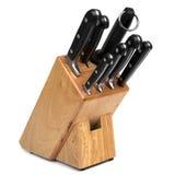 Bloco da faca isolado no branco Foto de Stock