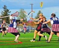 Bloco da guarda-redes das meninas da lacrosse Foto de Stock