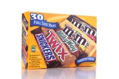 Bloco da variedade das barras de chocolate do chocolate de Marte fotografia de stock
