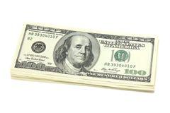 Bloco das cédulas de cem dólares Imagens de Stock