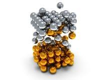 Bloco das esferas Conceito de montagem No branco Foto de Stock Royalty Free