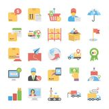 Bloco de ícones lisos do vetor da entrega logística ilustração stock