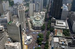 Bloco de Carnaval. Io de Janeiro, February 17, 2013. Aerial photograph of the street carnival block Cordon Bola Preta. Thousands of people parading in the royalty free stock photography