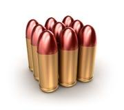 Bloco de catridges da munição com as balas sobre o branco. ilustração do vetor