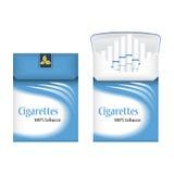 Bloco de cigarros azul fechado Abra o bloco de cigarros Ícone do bloco dos cigarros Ilustração do bloco dos cigarros Fotografia de Stock