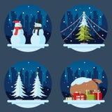 Bloco de decorações lisas do Natal do projeto ilustração royalty free