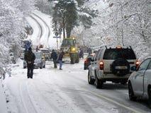 Bloco de estrada das nevadas fortes Fotografia de Stock