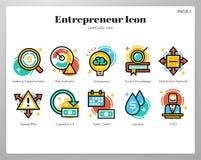 Bloco de LineColor dos ícones do empresário ilustração do vetor