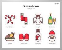 Bloco de LineColor dos ícones do Natal ilustração do vetor