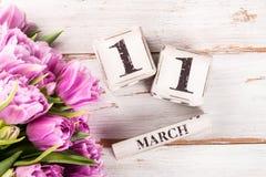 Bloco de madeira com data de dia das mães, o 11 de março Imagem de Stock