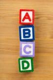 Bloco de madeira do brinquedo de ABCD Fotografia de Stock Royalty Free