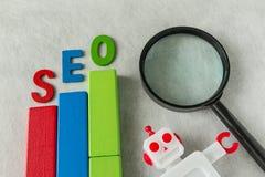 Bloco de madeira tão colorido do conceito da otimização do Search Engine quanto a Imagens de Stock