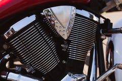 Bloco de motor brilhante da motocicleta do cromo do poder Fotos de Stock