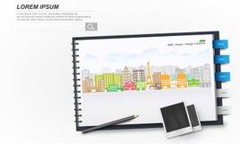 Bloco de notas branco com paisagem da cidade ilustração royalty free