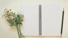 Bloco de notas com a flor do lápis e da grama Imagens de Stock