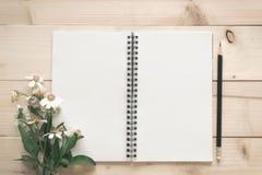 Bloco de notas com a flor do lápis e da grama Fotografia de Stock