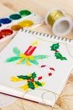 Bloco de notas com ilustrações do Natal da aquarela Imagem de Stock