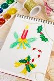 Bloco de notas com ilustrações do Natal da aquarela Fotos de Stock Royalty Free