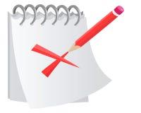 Bloco de notas com uma cruz vermelha Imagens de Stock Royalty Free