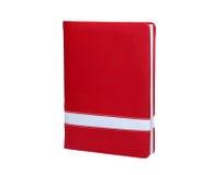 Bloco de notas de papel fechado vermelho Isolado no fundo branco com grampo Fotografia de Stock Royalty Free