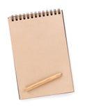 Bloco de notas do papel de Brown imagens de stock