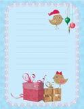 Bloco de notas dos passarinhos do Natal Imagem de Stock