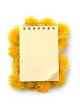 Bloco de notas e flores Fotos de Stock