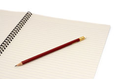 Bloco de notas e lápis Fotos de Stock