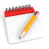 Bloco de notas e lápis. Foto de Stock