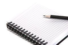 Bloco de notas e lápis Foto de Stock