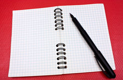 Bloco de notas e pena Fotos de Stock