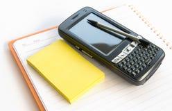 Bloco de notas, memorando e PDA imagens de stock