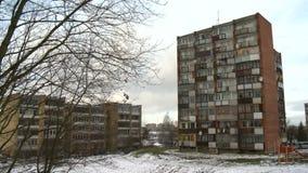 Bloco de planos socialista típico em Vilnius, Lituânia Europa do leste filme