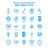 Bloco de SEO Analytics Blue Tone Icon - 25 grupos do ícone ilustração do vetor